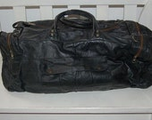 RESERVED for DOMINIC R. - Black Leather Duffle Bag Gym Bag Weekend Bag - Free US shipping