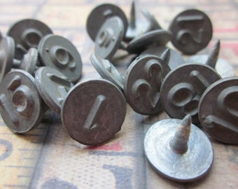 5 Vintage Metal Numbered Tacks