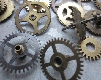 4 Vintage Small Brass Gears