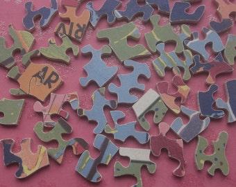 Vintage Wooden Puzzle Pieces