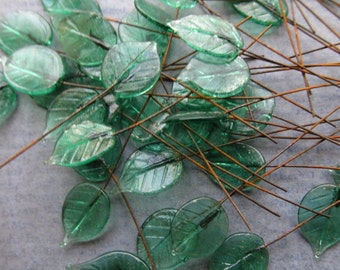 3 Vintage 1950's Lampwork Glass Leaves