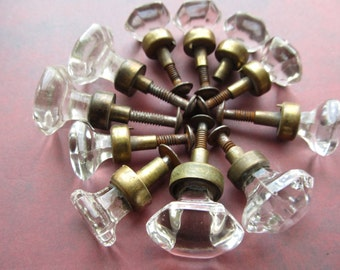 1 Vintage Clear Glass Cabinet Knobs