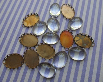 2 Vintage Brass Charm Bezels and Glass Cabochons
