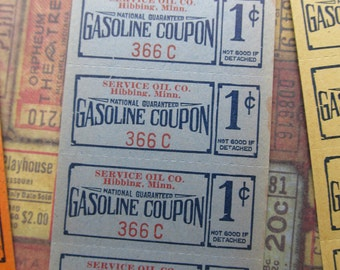 10 Vintage Gasoline Coupons