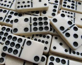 3 Vintage White Dominoes