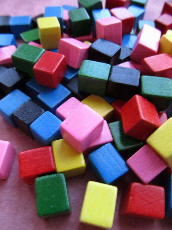Colored Wood Blocks ~ Vintage tiny colored wooden blocks
