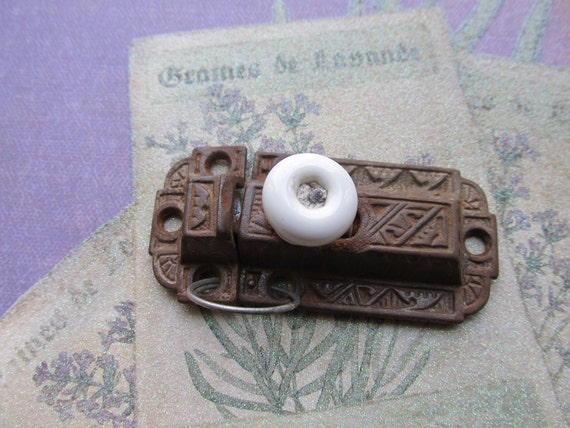 Antique Latch with Porcelain Knob