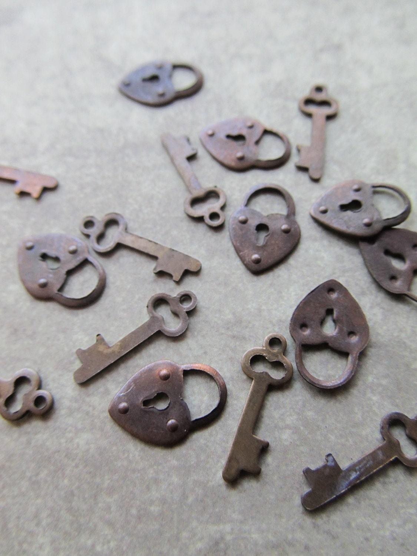 vintage lock key charms by caityashbadashery on etsy. Black Bedroom Furniture Sets. Home Design Ideas