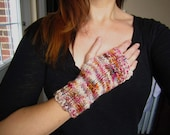 Fingerless gloves of multi-coloured sustainably-sourced goodness in Fall colors