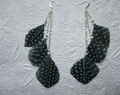 tiered feather earrings - black and blue
