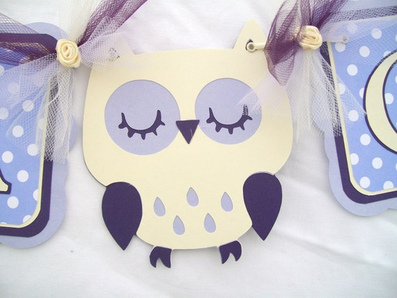 owl banner, baby shower its a girl banner, lavendar and ivory - READY TO SHIP - Clearance