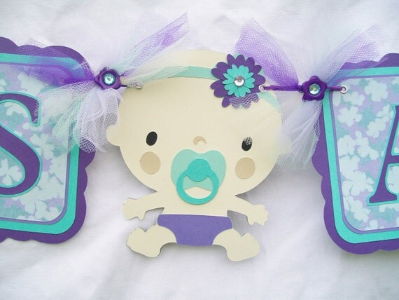 Baby girl, baby shower banner, its a girl, lavendar and tiffany blue - reserved for valarr181
