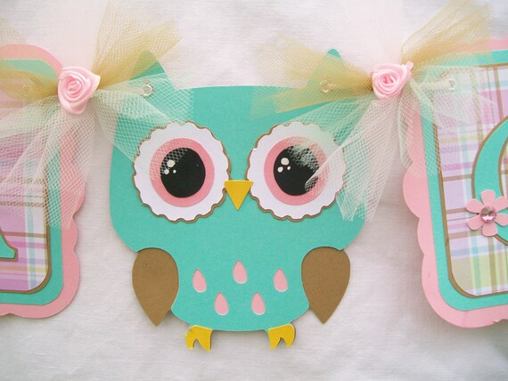 Owl baby shower, owl banner, owl baby, owl decorations, baby shower banner, pink and teal decorations, photo prop, it's a girl banner