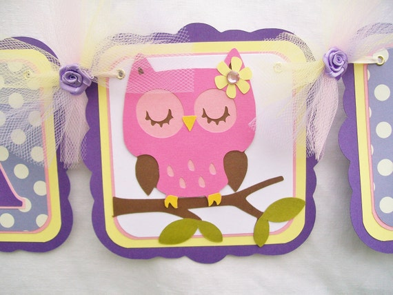 Pink owl baby shower banner, lavendar, polka dots, yellow and pink, its a girl - READY TO SHIP