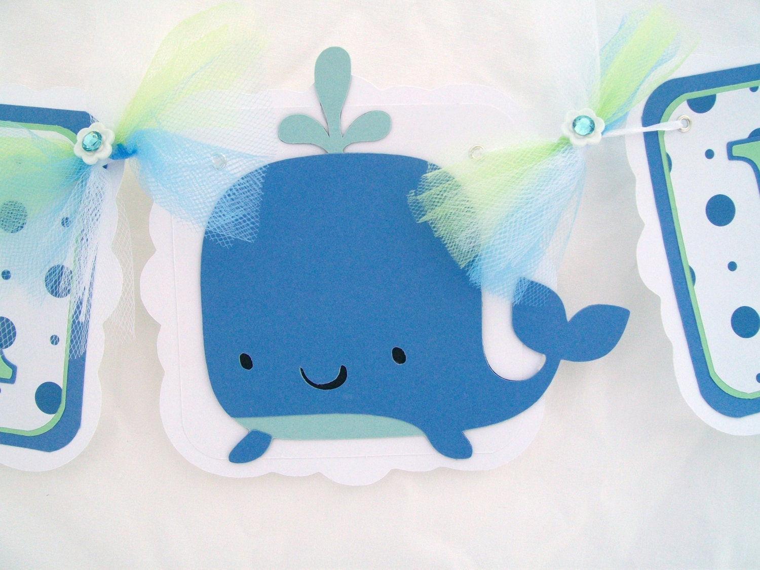baby shower banner whale banner white blue and mint green