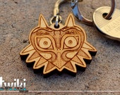Zelda Majora's Mask Keychain OR Zelda Majora's Mask Charm Accessory - wood Majora's Mask keychain, majora's mask charm, stocking stuffer