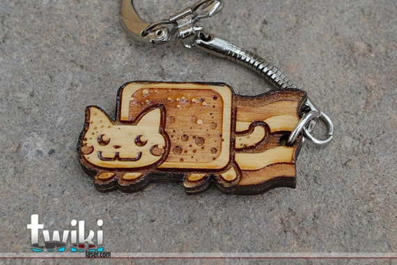 Laser cut and engraved Nyan Cat wood keychain OR charm accessory