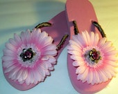 Light Pink Gerber Daisy Flip Flops (Size 7-8) Ready to Ship