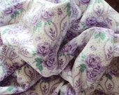Vintage French Soft Flannel Fabric Lilac Roses Rosebuds Suitable for Patchwork Quilting Lavender Bags Feedsack Pillow