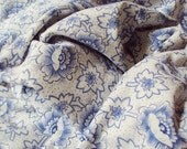 Vintage French Cotton Fabric Unusual Blue Flowers Berries Patchwork Quilting Lavender Bags Pillows Feedsack