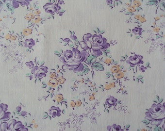 Vintage French Fabric Lilac Roses Yellow Flowers Suitable for Patchwork Quilting Lavender Bags Feedsack Pillow