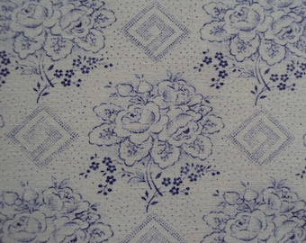 Vintage French Fabric Blue Roses Rosebuds Diamond Shapes Suitable for Patchwork Quilting Lavender Bags Feedsack Pillow