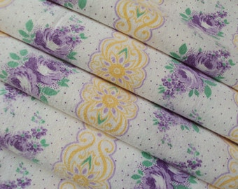 Vintage French Fabric Lavender Roses Stripes Yellow Scrolls Lilac Dots Suitable for Patchwork Quilting, Lavender Bags Feedsack