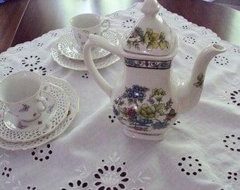 Vintage English Tea Coffee Pot Transferware Grindley Sandringham Pattern Floral Time for Tea