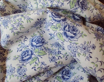 Vintage French Fabric Blue Roses Blue Flowers Suitable for Patchwork Quilting Lavender Bags Feedsack Pillow