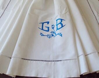 Vintage French Linen Metis Sheet Blue Monogram GB Superb Ladderwork Jours make a Fabulous Curtain
