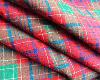 Vintage French Cotton Fabric Tartan Check Plaid Green Red Blue White Suitable for Patchwork Quilting Lavender Bags Feedsack Pillow Napkins