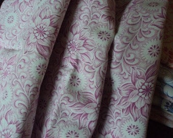 Vintage French Cotton Fabric Pink  Dahlias Scrolls and  White Flowers Suitable for Pillows Patchwork Quilting Lavender Bags Feedsack
