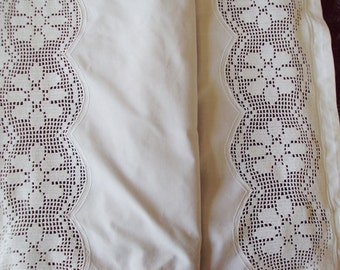 Fabulous French Pillowcase Pillowsham Hand Crochet Lace Inserts Monogram AG Oxford Edge