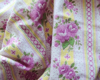 Vintage French Fabric Pink Roses Rosebuds Pink Yellow and White Stripes Faded