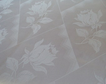 Over 3 Yards Vintage White Damask Fabric Roses Lillies 48 inches Wide Unused Suitable for Curtains Pillows Throws