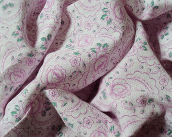 Vintage French Cotton Fabric Faded Pink Roses and Small Pink Flowers Suitable for Patchwork Quilting Lavender Bags Feedsack Pillow