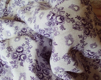 Vintage French Cotton Fabric Lavender Roses and Lily of the Valley Suitable for Patchwork Quilting Lavender Bags Feedsack Pillow