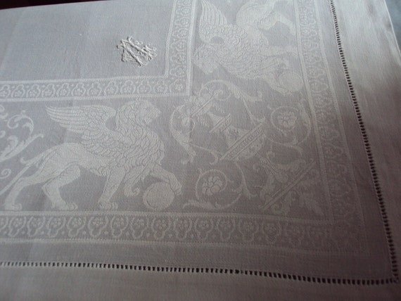 Vintage French White Fine Linen Damask  Small Tablecloth and 2 Matching Napkins Mon AC/AG Art Nouveau Winged Lions