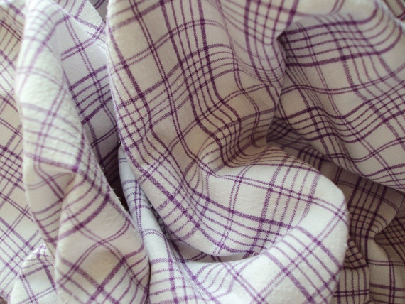 Vintage French Lilac Plaid Check Gingham Suitable for Patchwork Quilting Lavender Bags Feedsack Pillow