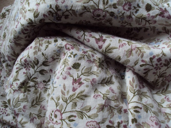 1 Yard Vintage French Cream Fabric Small Pink and Blue Flowers Suitable for Dolls Clothes Patchwork Quilting Lavender Bags Feedsack Pillow