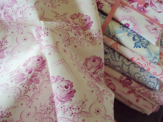 Vintage Fabric Fuschia Pink Roses Unused Suitable for Patchwork Quilting Lavender Bags Feedsack Pillow