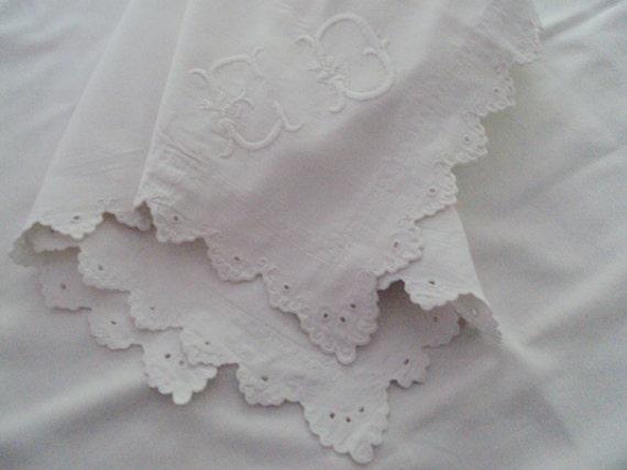 Antique French Handmade Fine Linen Pillowcases Shams Monogram ED Decorative Scalloped Edge