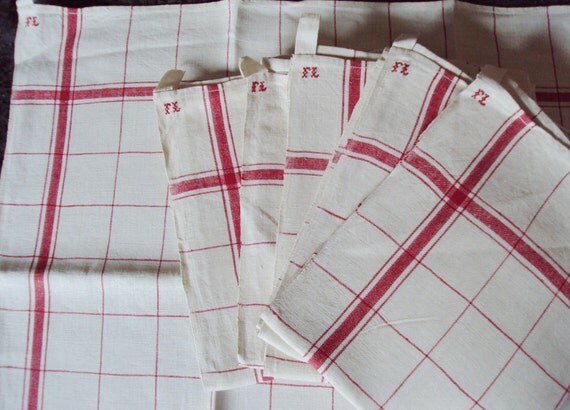 Last One Vintage French Linen Torchons/Teatowels Red Stripes Mon FL Red Check Never Used Would make Great Napkins
