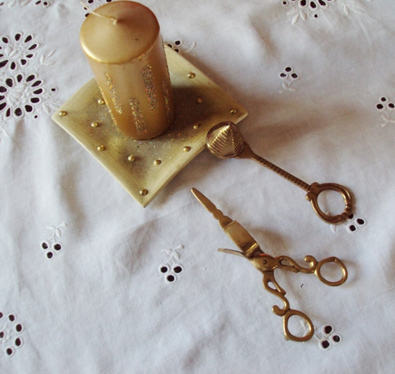 Antique French Brass Candle Snuffer and Wick Trimmer Decorative and Very French Would make a Wonderful Present