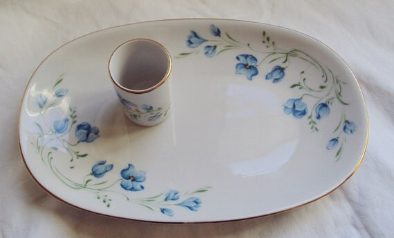 Vintage French Porcelain Limoges Style Dressing Table Dish and Hairpin Holder Blue Flowers Hand Painted