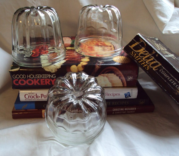 Instant Collection 3 Vintage French Glass Jelly Jello Molds Moulds Small Kitchenalia