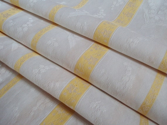 Over 3 Yards Vintage Damask Fabric Lily of the Valley Yellow and White Stripes 54 inches wide Suitable for Curtains Pillows