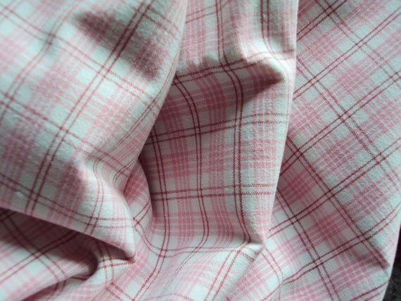 Vintage French Cotton Fabric Pink Check Plaid Suitable for Patchwork Quilting Lavender Bags Feedsack Pillow Napkins