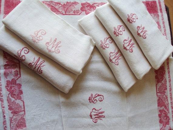 6 Vintage French White Linen Damask Napkins Floral Design Red Monogram LM Red Floral Border