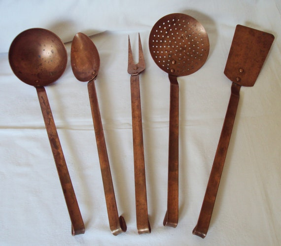 Vintage French Copper 5 Kitchen Utensils Spoon Fork Spatula